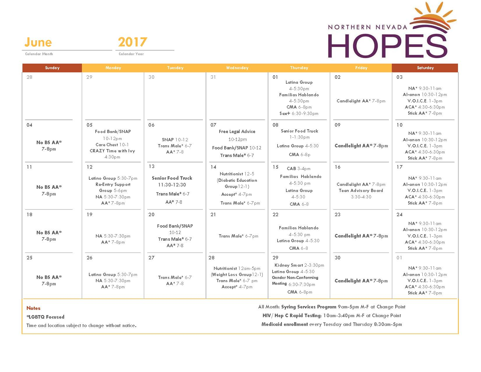 Hopes Calendar Northern Nevada Hopes