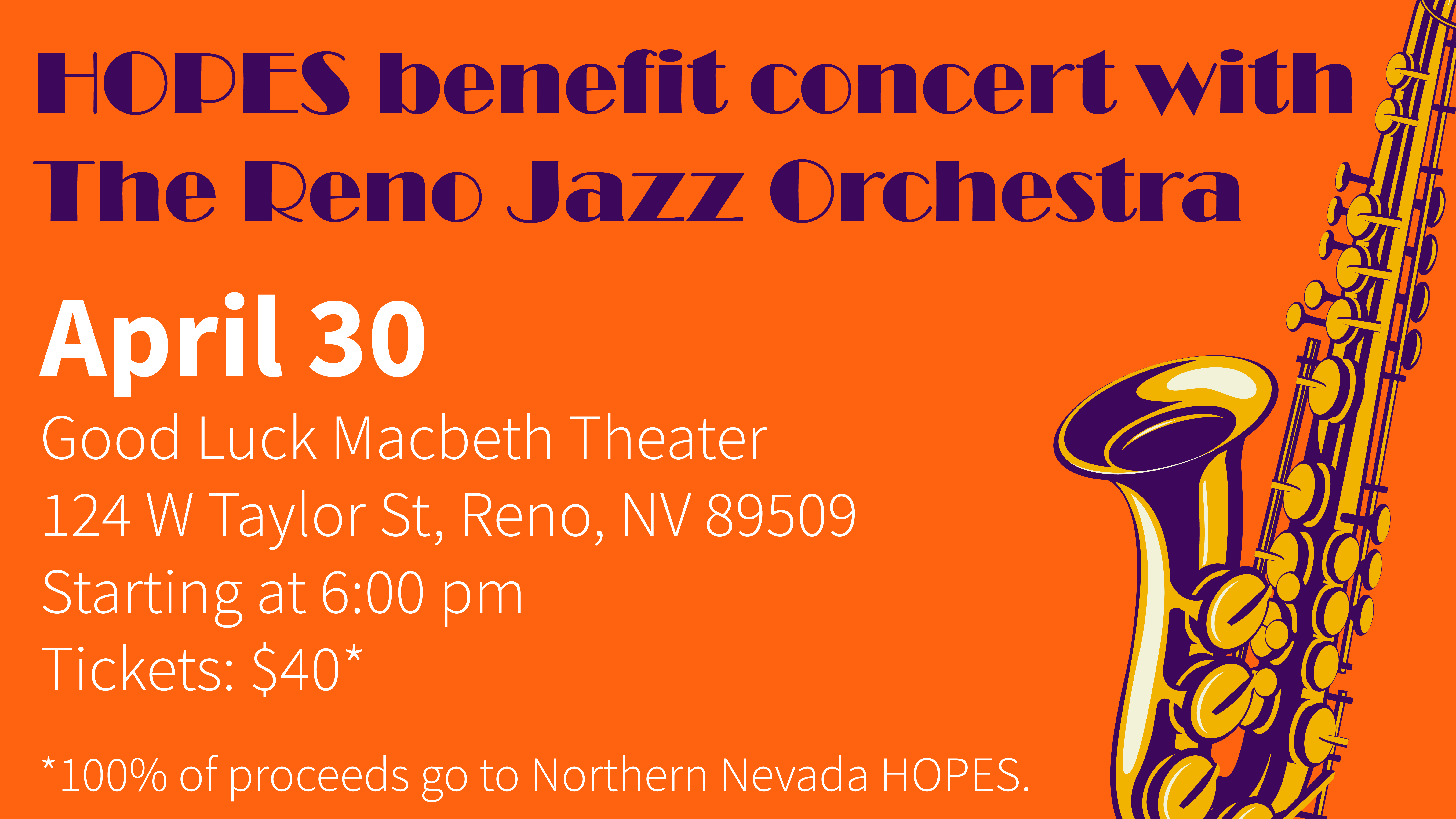 HOPES Benefit Concert with Reno Jazz Orchestra on April 30